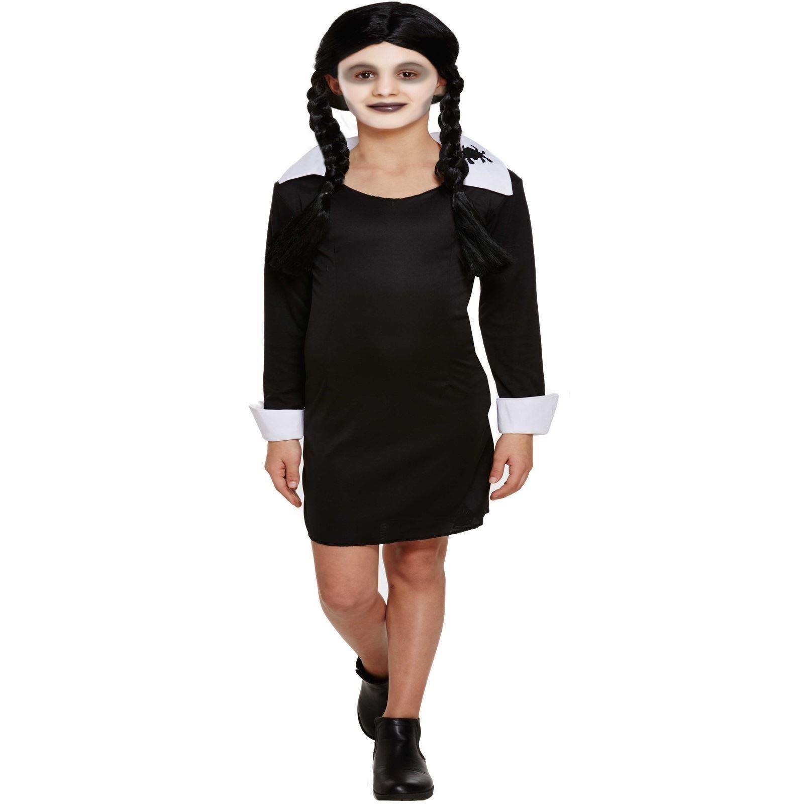 qualità e quantità assicurate saldi prezzo speciale per Dettagli su Costume per Bambini Bimbi Like Mercoledì Famiglia Addams  Halloween Vestito