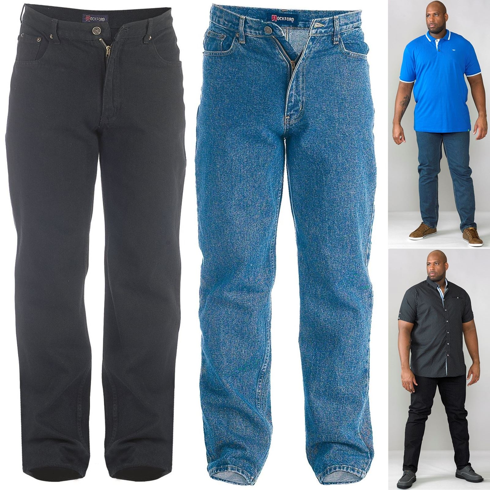 New Mens King//Big Rockford Comfort Fit Denim Jeans Black Blue waist  Size 42 54