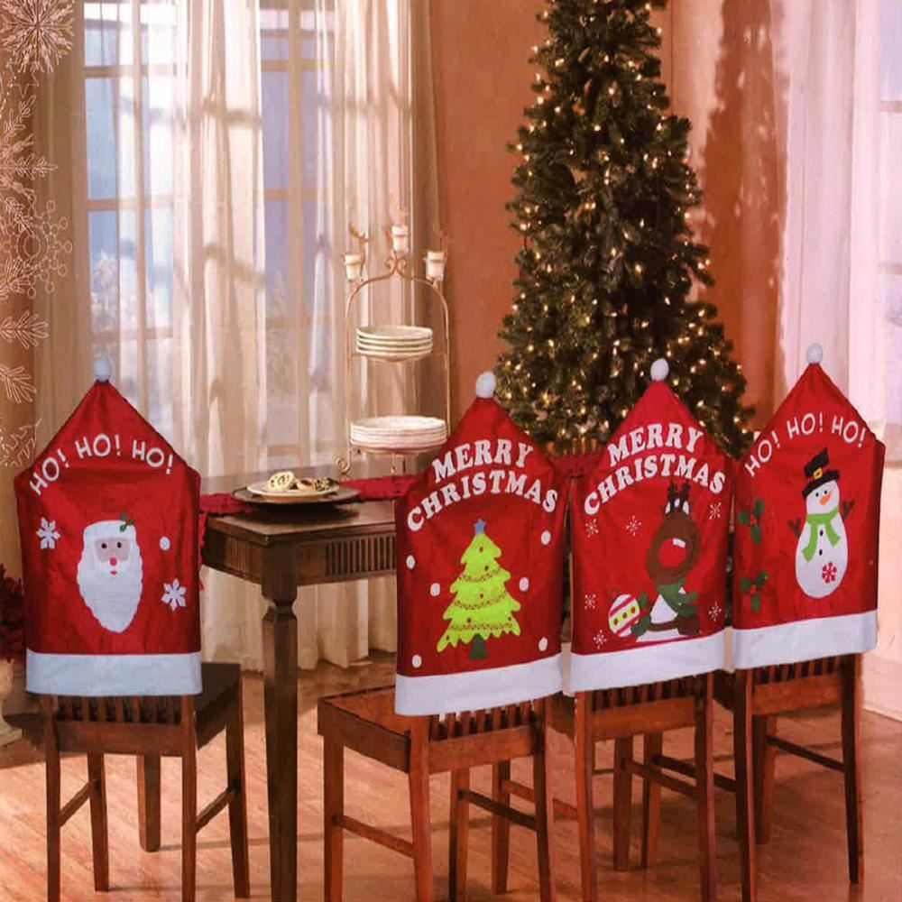 4 X Christmas Theme Chair Hat Back Covers Xmas Dinner