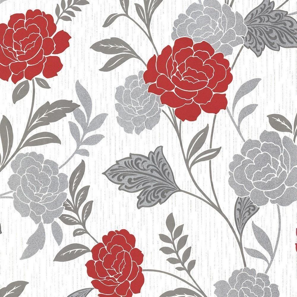Arthouse Carla Floral Rose Motif Papier Peint Paillettes