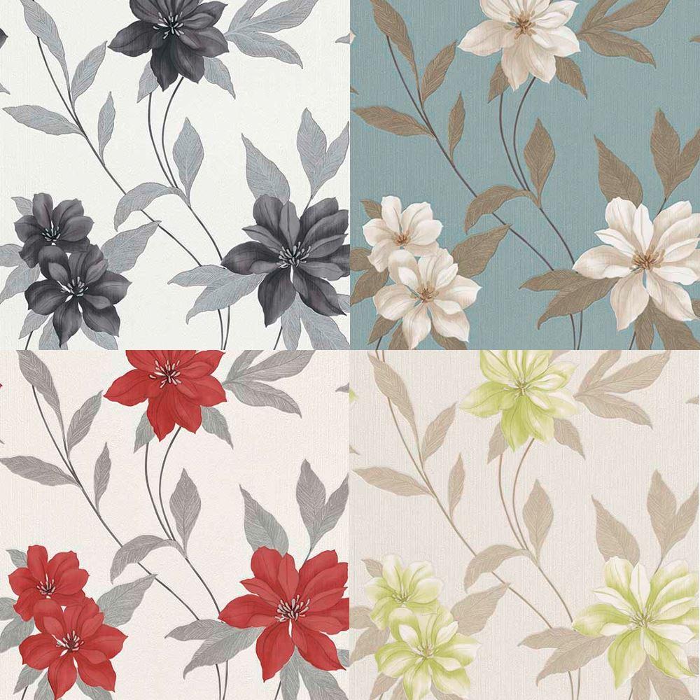 Erismann Spring Floral Metallic Textured Blown Vinyl Pastel