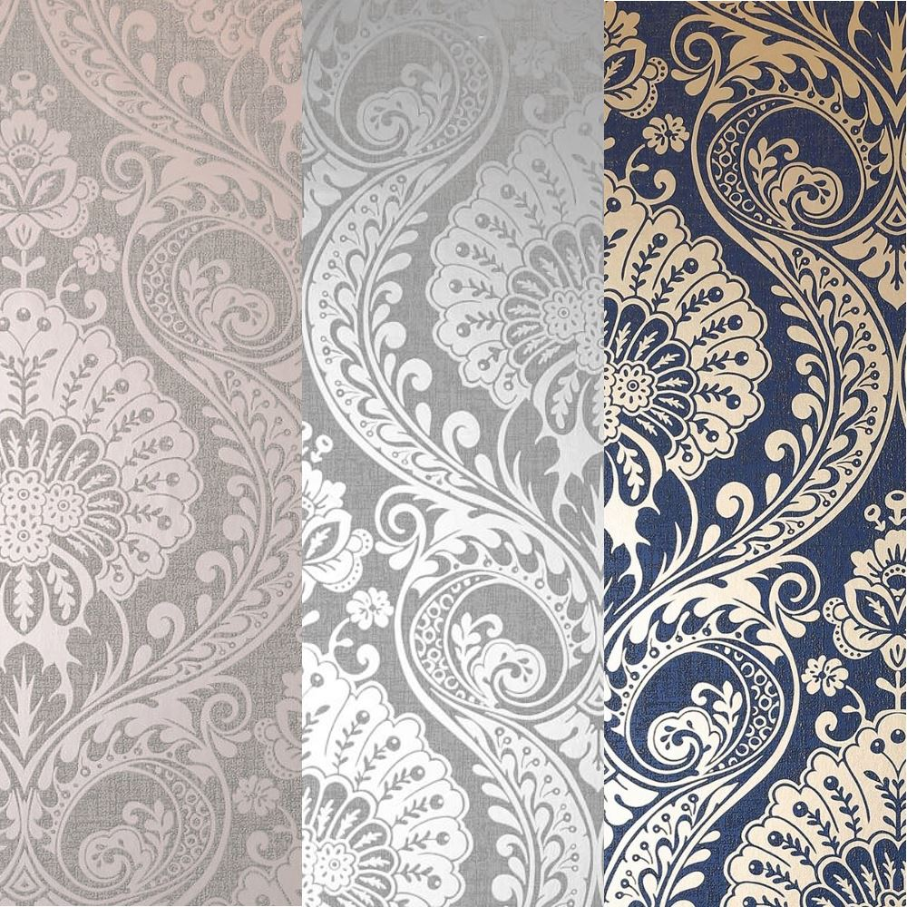 Arthouse Luxe Damask Pattern Floral Metallic Textured Fabric