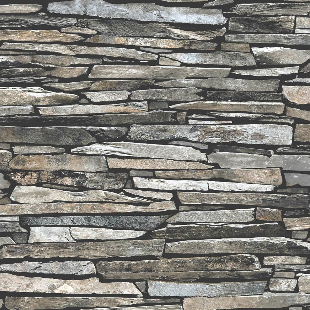 New Muriva Slate Wall Pattern Faux Effect Rustic Stone