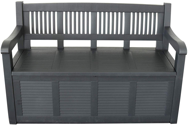 Plastic Garden Outdoor Bench With Storage Box Cushion