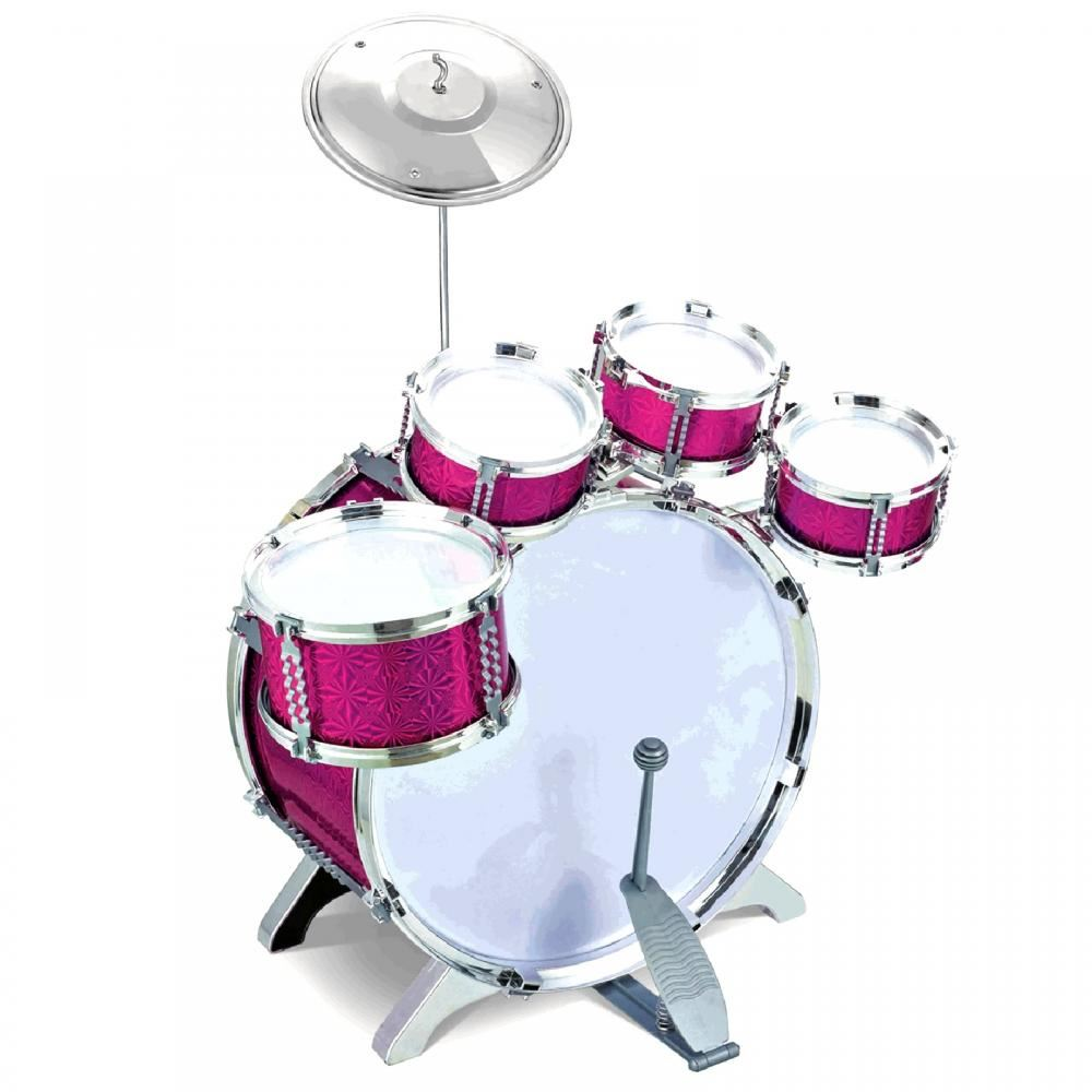 Pink 27pc Rock Drum Kit Childrens Cymbal Music Percussion Playset