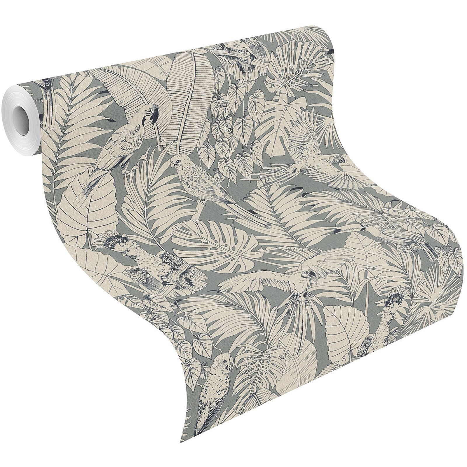 Rasch Madagascar Tropical Perroquet Oiseau Palm Leaf papier peint texture non tissé gris