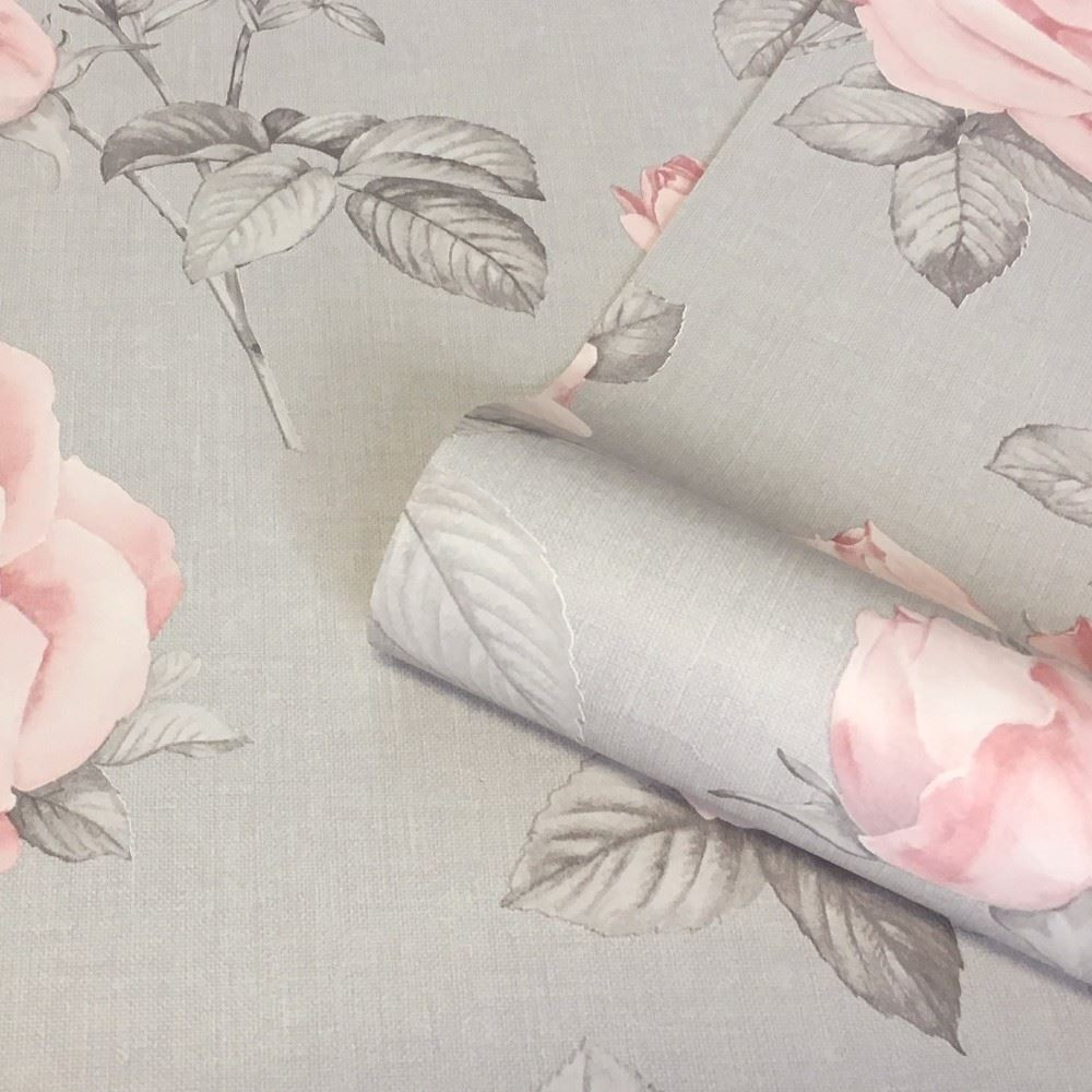 Belgravia Décor Rosa Floral Rose Leaf Pattern Smooth Wallpaper 9766