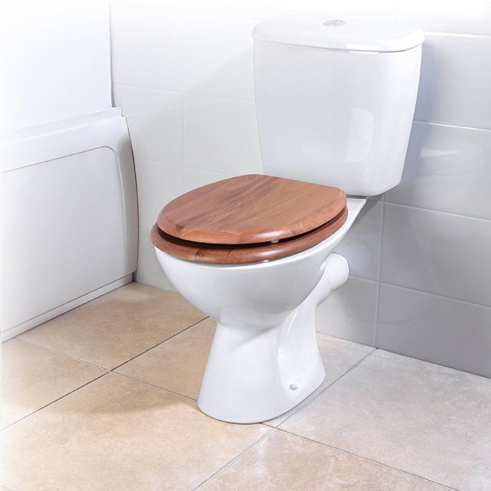 Beldray Bath Bathroom Wooden Oval Toilet Seat With Hinges Fixtures ...