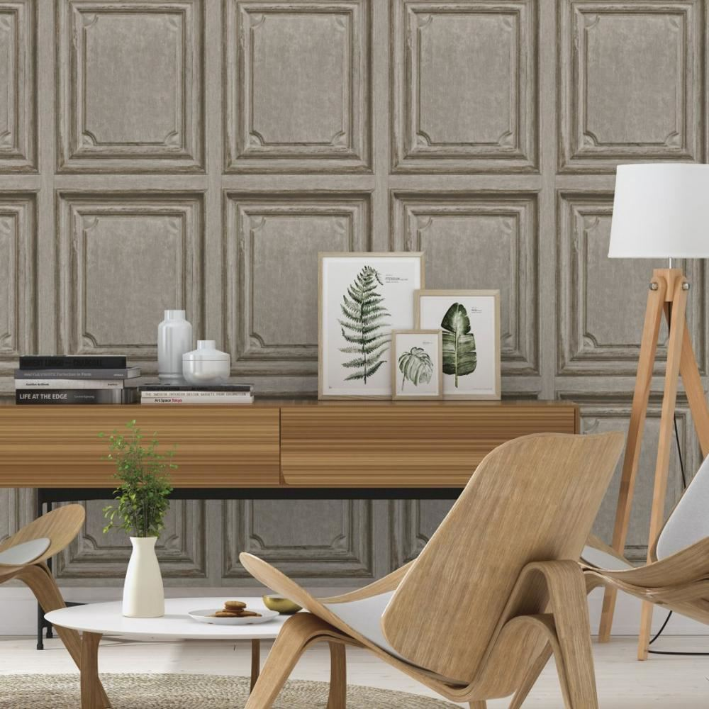 Rasch Wooden Door Pattern Wallpaper Modern Faux Wood