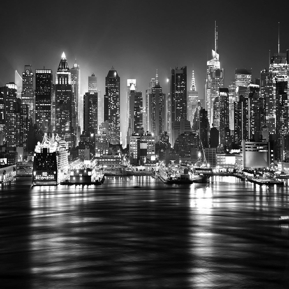 New york at night skyline black white wallpaper mural photo giant wall poster