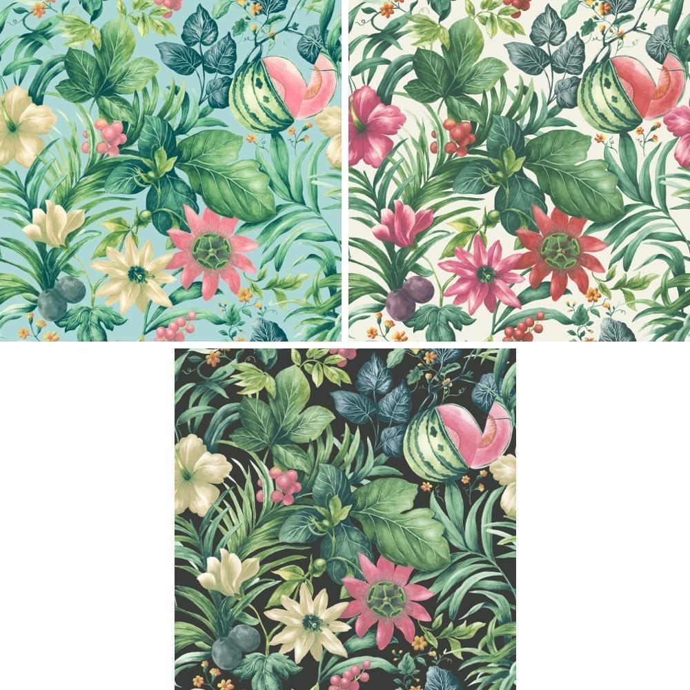 Grandeco Botanical Fruit Flower Pattern Wallpaper Tropical Floral