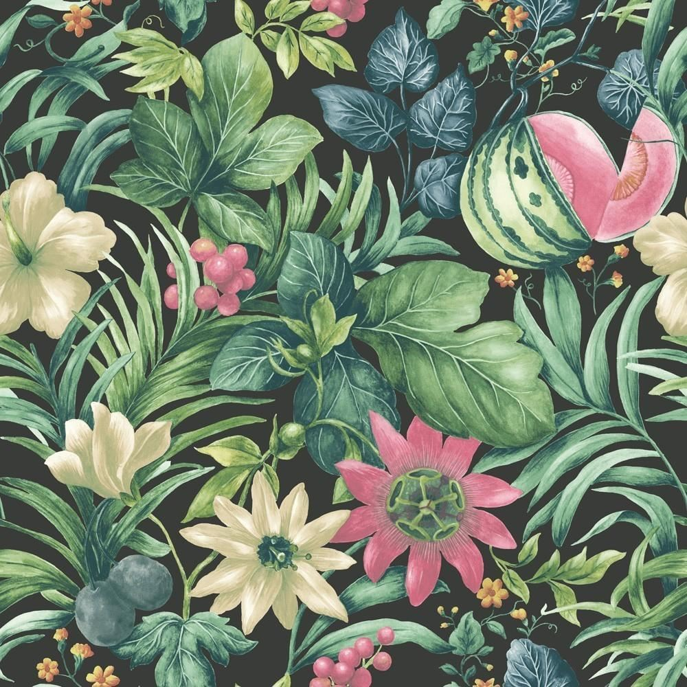 grandeco botanical fruit flower pattern wallpaper tropical floral motif textured ebay. Black Bedroom Furniture Sets. Home Design Ideas