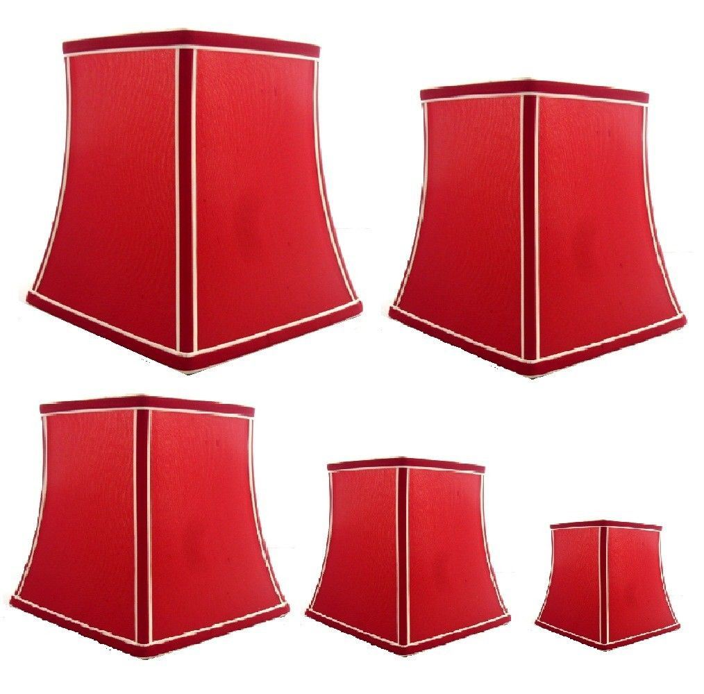 JOHN LEWIS CARRIE HEX SILK LAMP LIGHT SHADE LACQUER RED