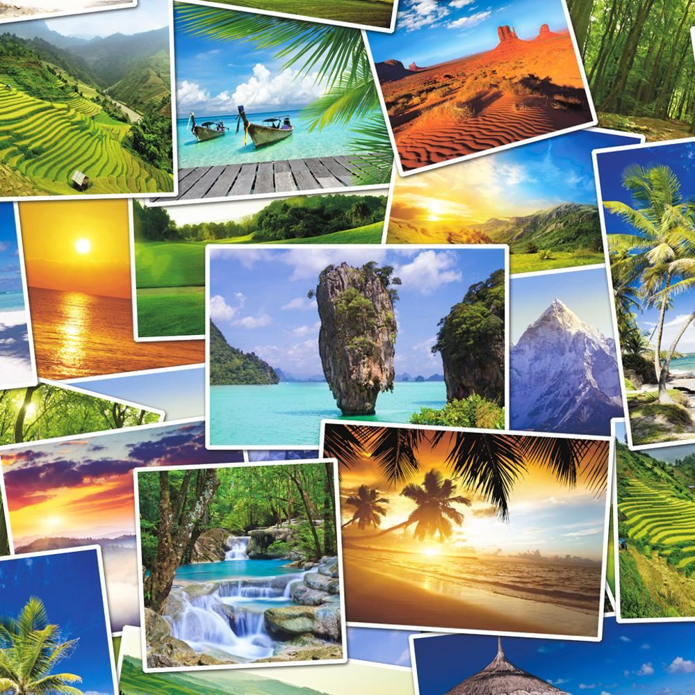 New Muriva Tropical Photo Collage Pattern Paradise Holiday Wallpaper