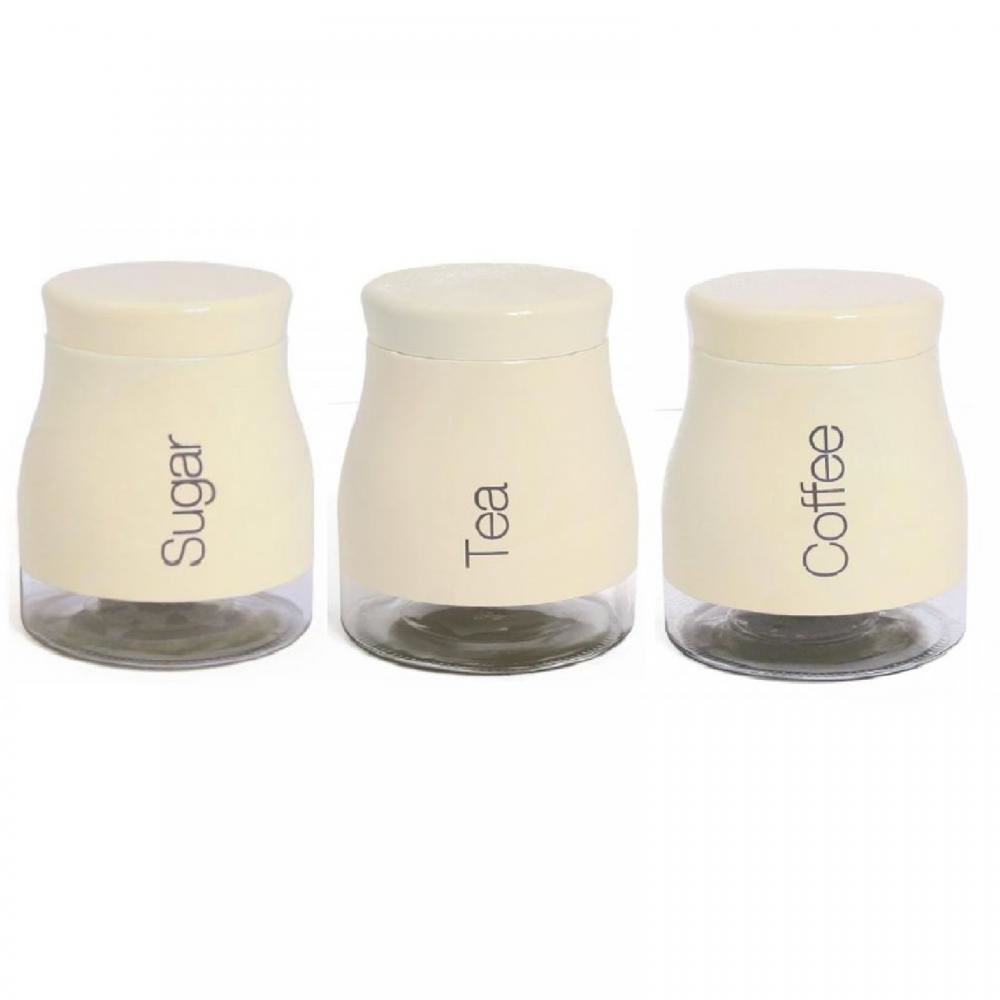 Cream Kitchen Storage Jars: Set Of 3 Kitchen Storage Canisters Tea Coffee Sugar Jars