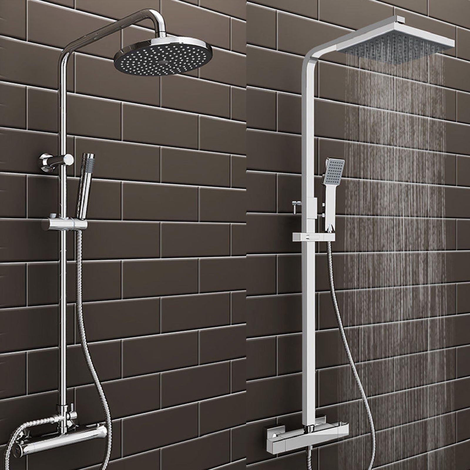 Rainfall 2 Head Bathroom Mixer Shower Set Round Square Chrome ...