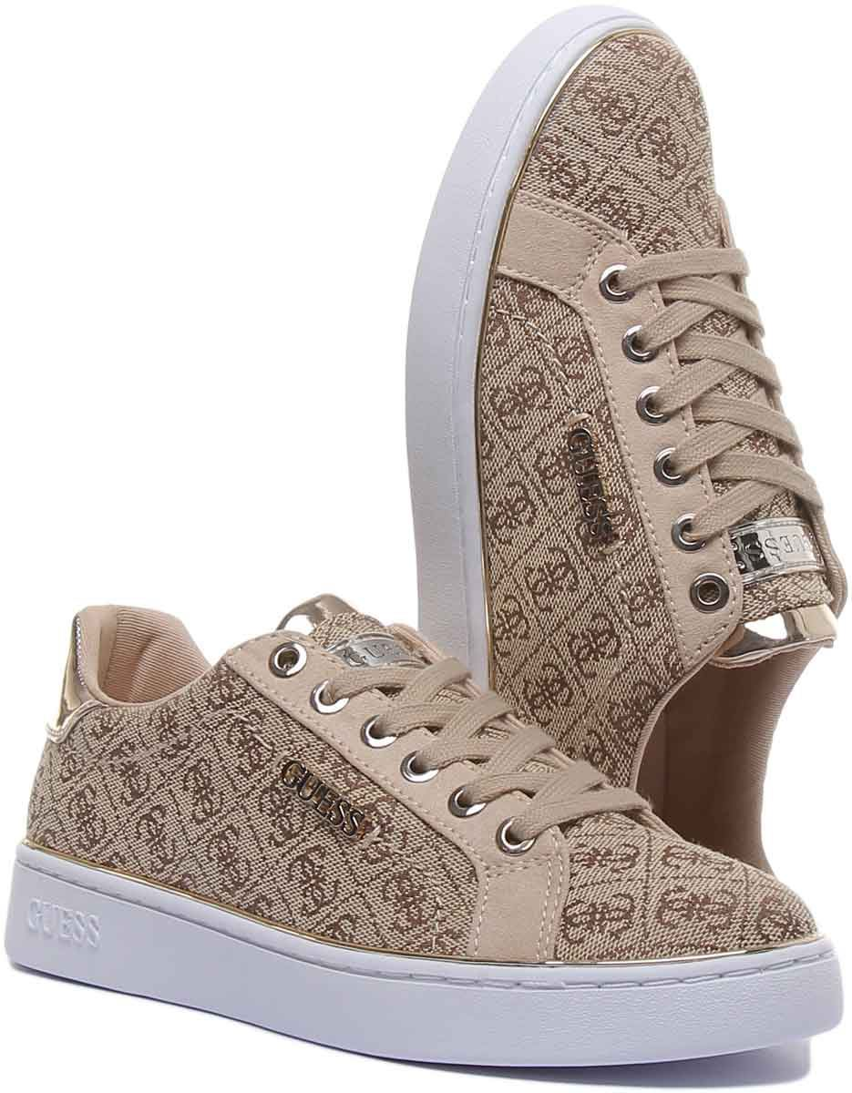 Guess Beckie 2 Lace Up Gold Logo 4G In Beige