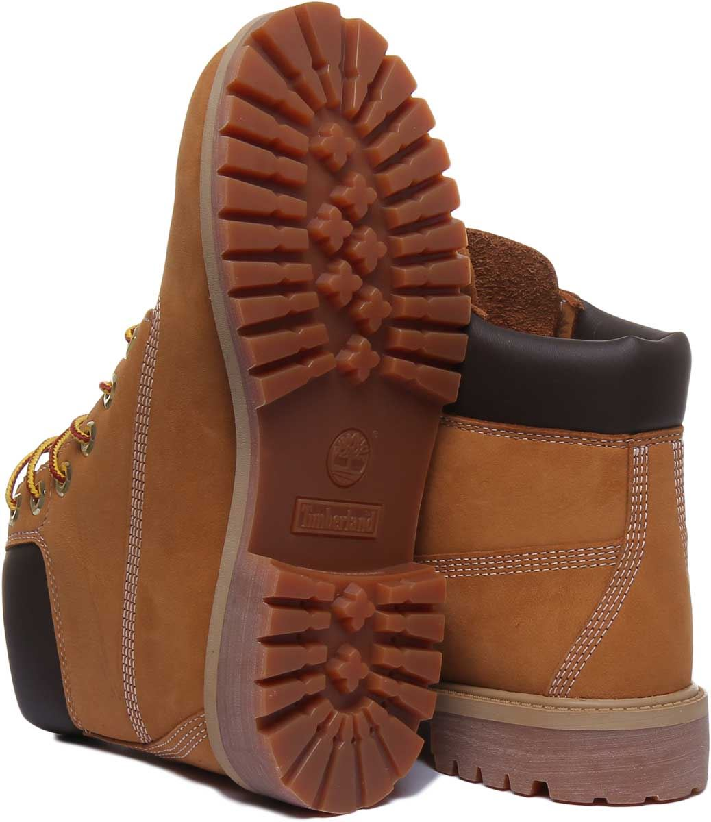 thumbnail 10 - Timberland-12909-Juniors-6-Inch-Premium-Lace-Up-In-Wheat-Size-UK-3-7
