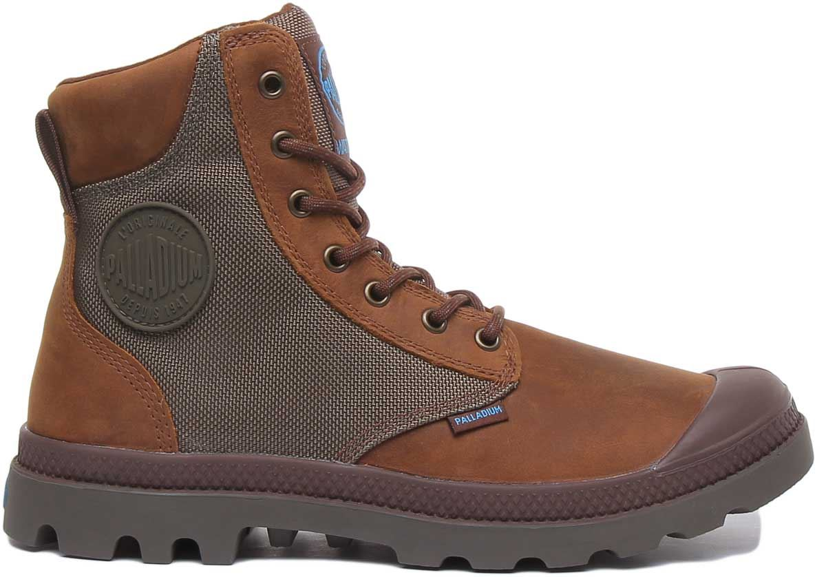 thumbnail 8 - Palladium Spor Cuf Wpn Lace Up Wp Eva Footbed Boot In Brown Size Uk 6 - 12