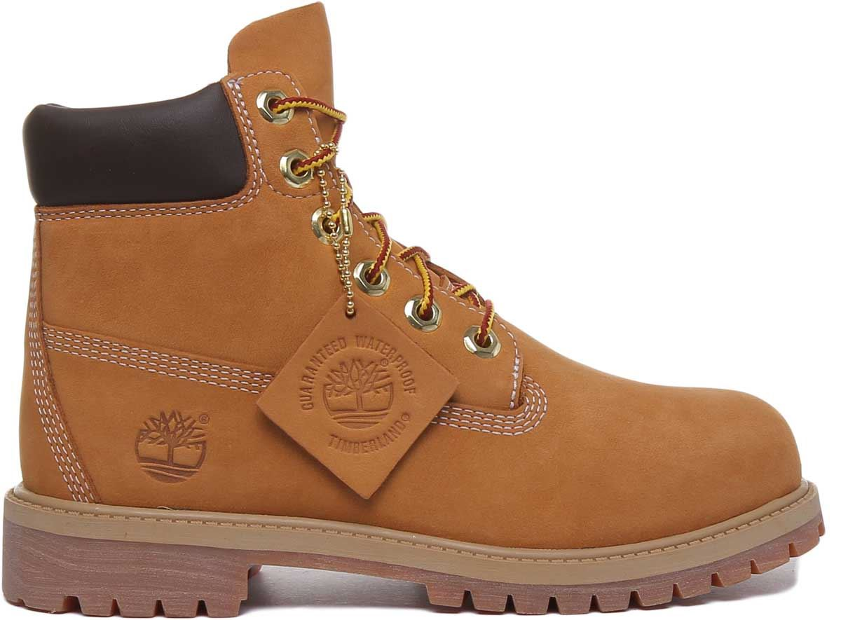 thumbnail 8 - Timberland-12909-Juniors-6-Inch-Premium-Lace-Up-In-Wheat-Size-UK-3-7