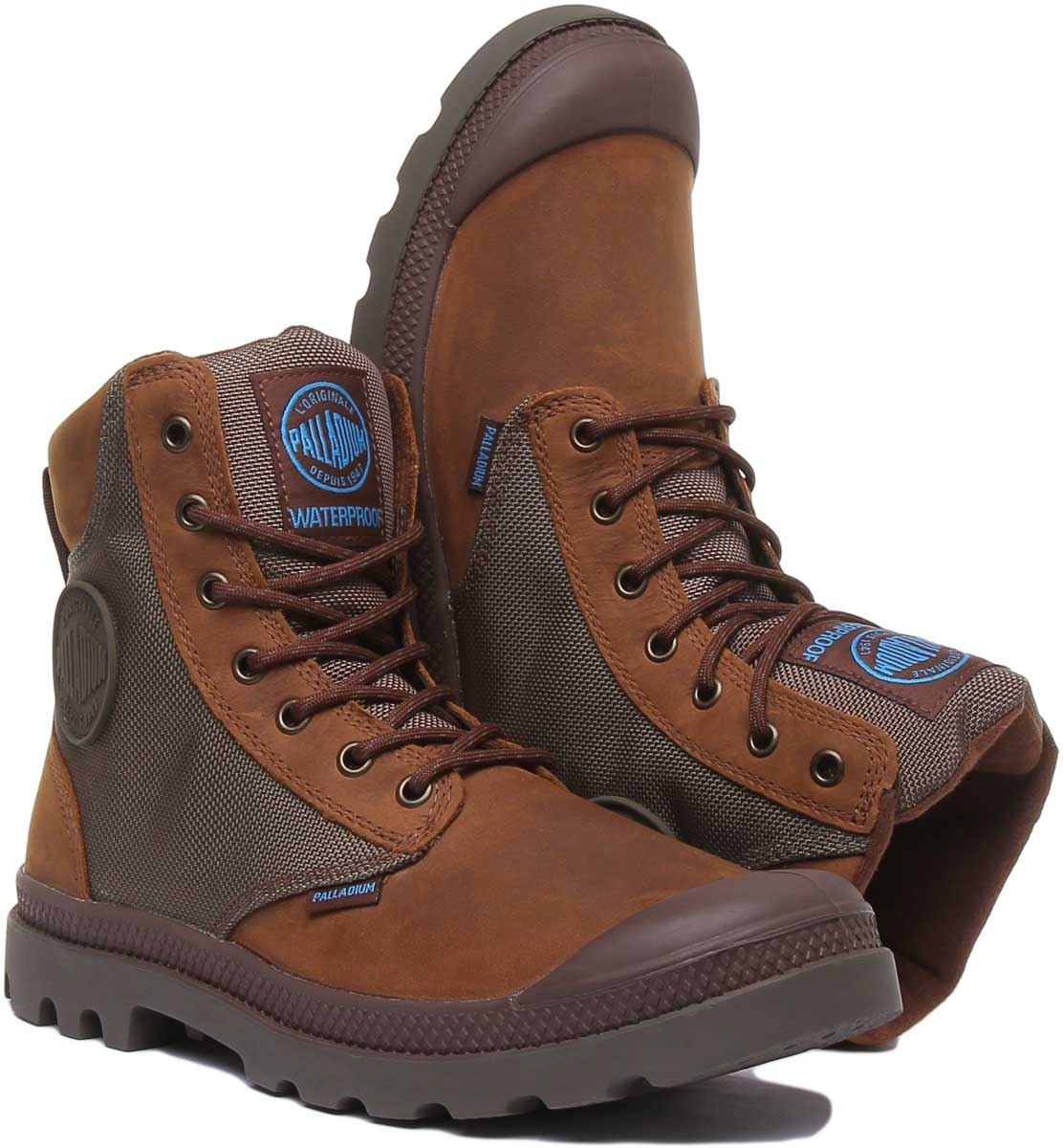 thumbnail 11 - Palladium Spor Cuf Wpn Lace Up Wp Eva Footbed Boot In Brown Size Uk 6 - 12