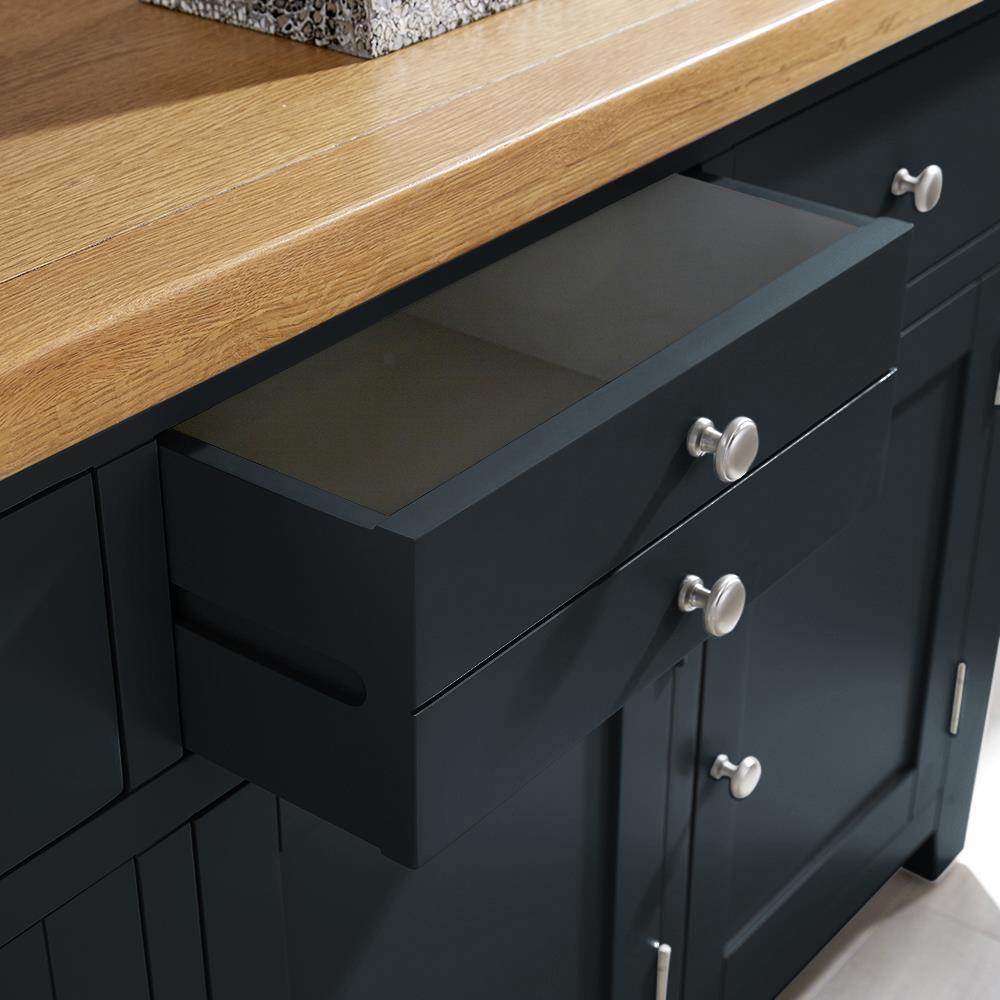 modern blue solid wood 3 drawer 3 door sideboard cupboard