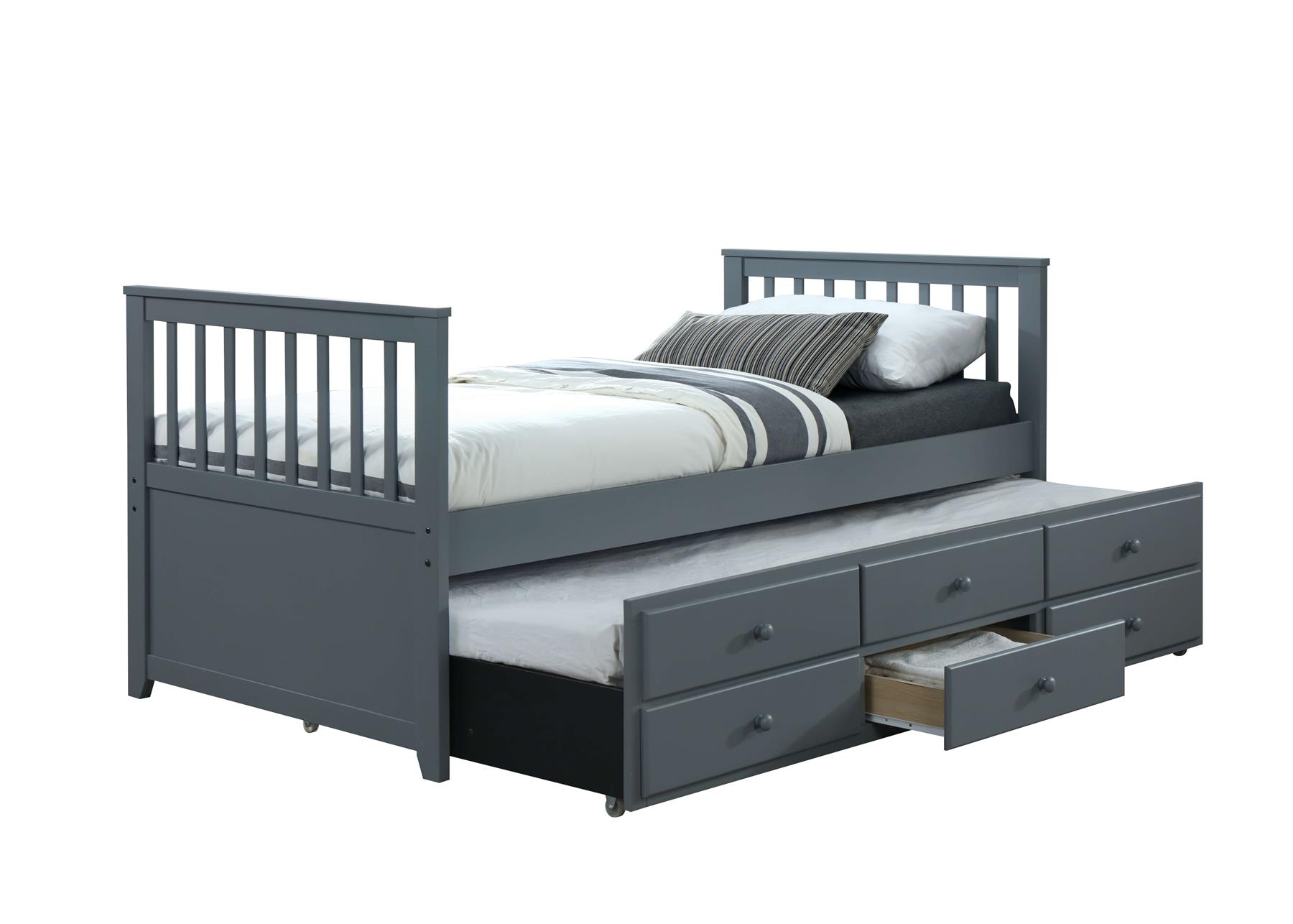 Picture of: Grey Captain S Bed 3ft Single Guest Bed Pull Out Trundle With Storage Drawer Ebay