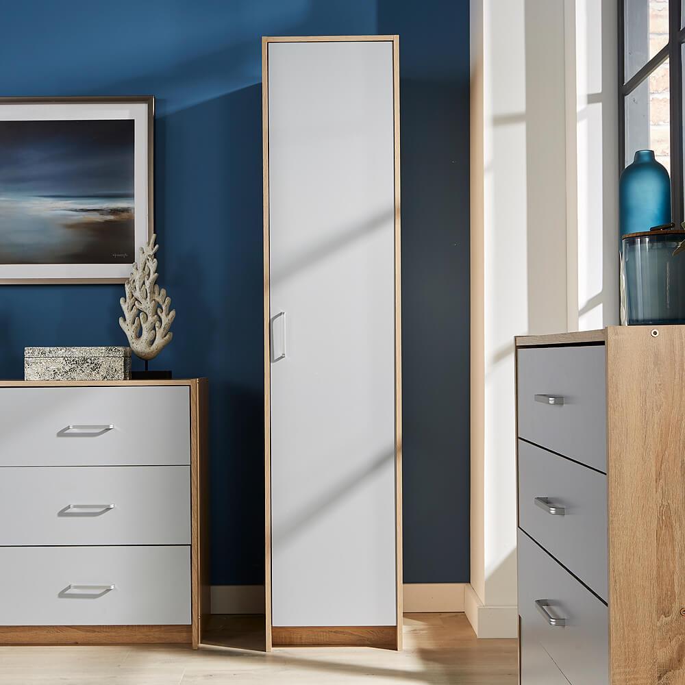 single door narrow wardrobe grey 1 door hanging rail