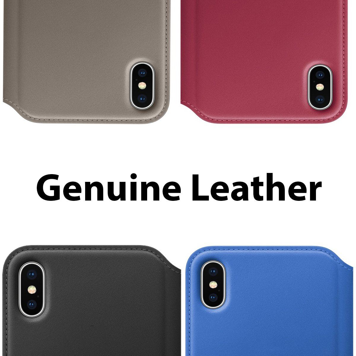 Genuine-Leather-Folio-Flip-Wallet-Case-Cover-For-Apple-iPhone-11-Pro-Max-Xs-8-7 thumbnail 63