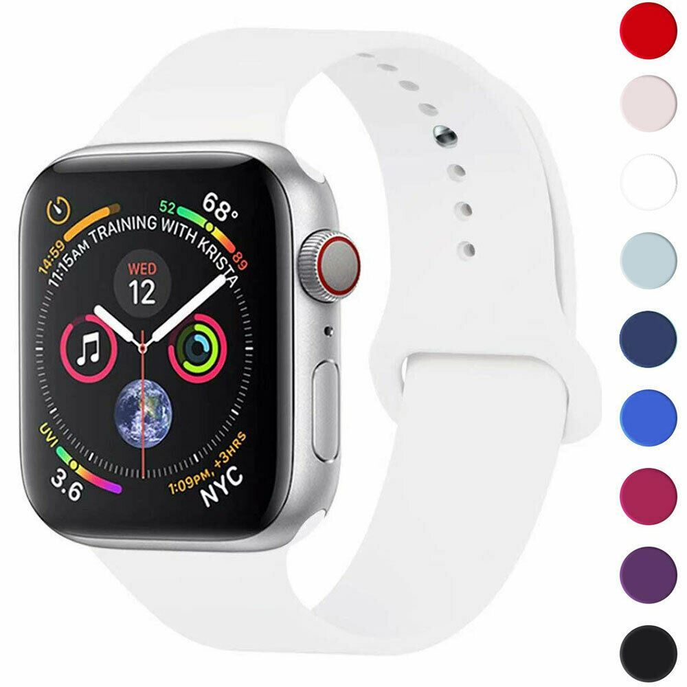 Strap-For-Apple-Watch-Silicone-Comfortable-Durable-Waterproof-Band thumbnail 38