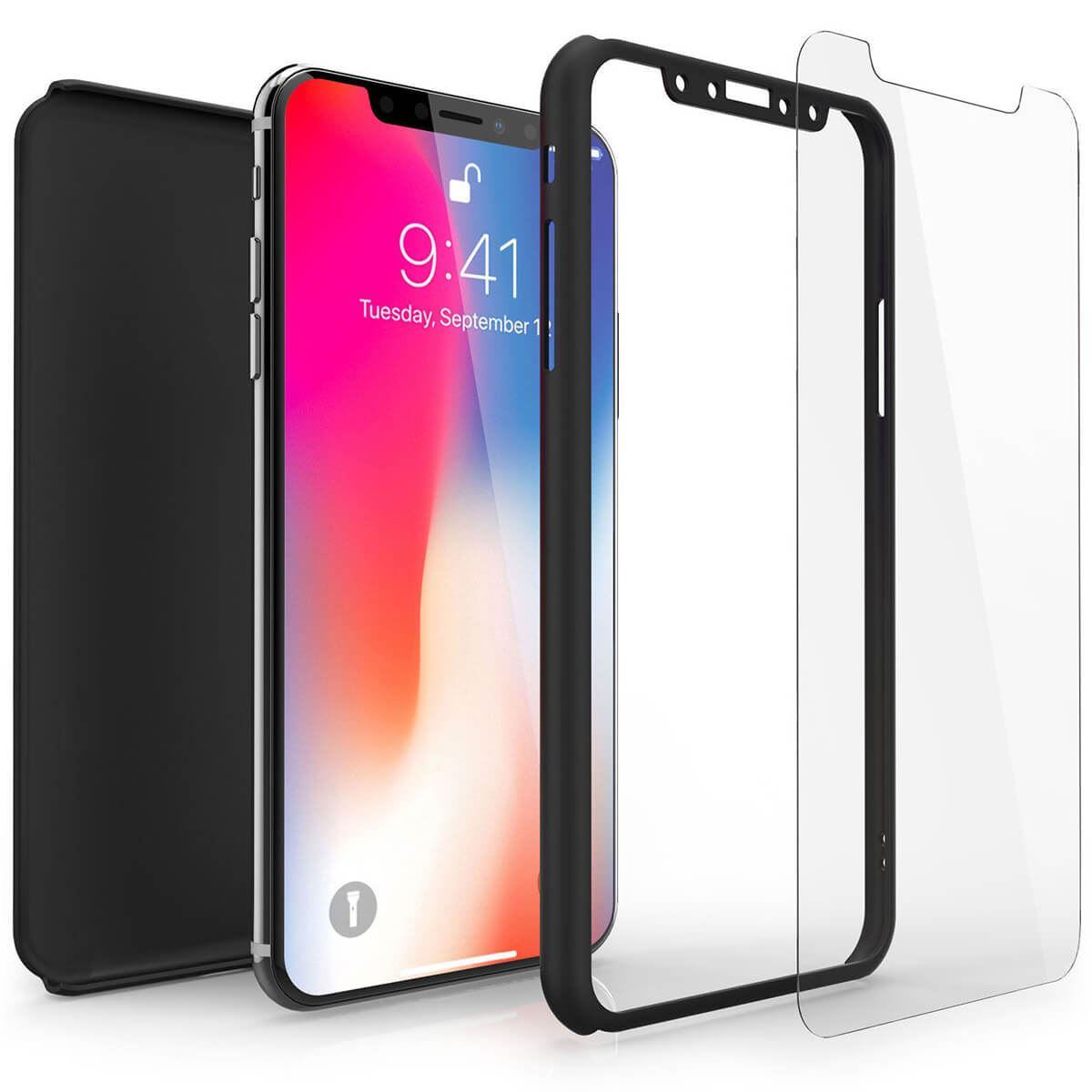 Tempered-Glass-Cover-For-Apple-iPhone-10-X-8-7-6s-5-Hybrid-360-Shockproof-Case thumbnail 7