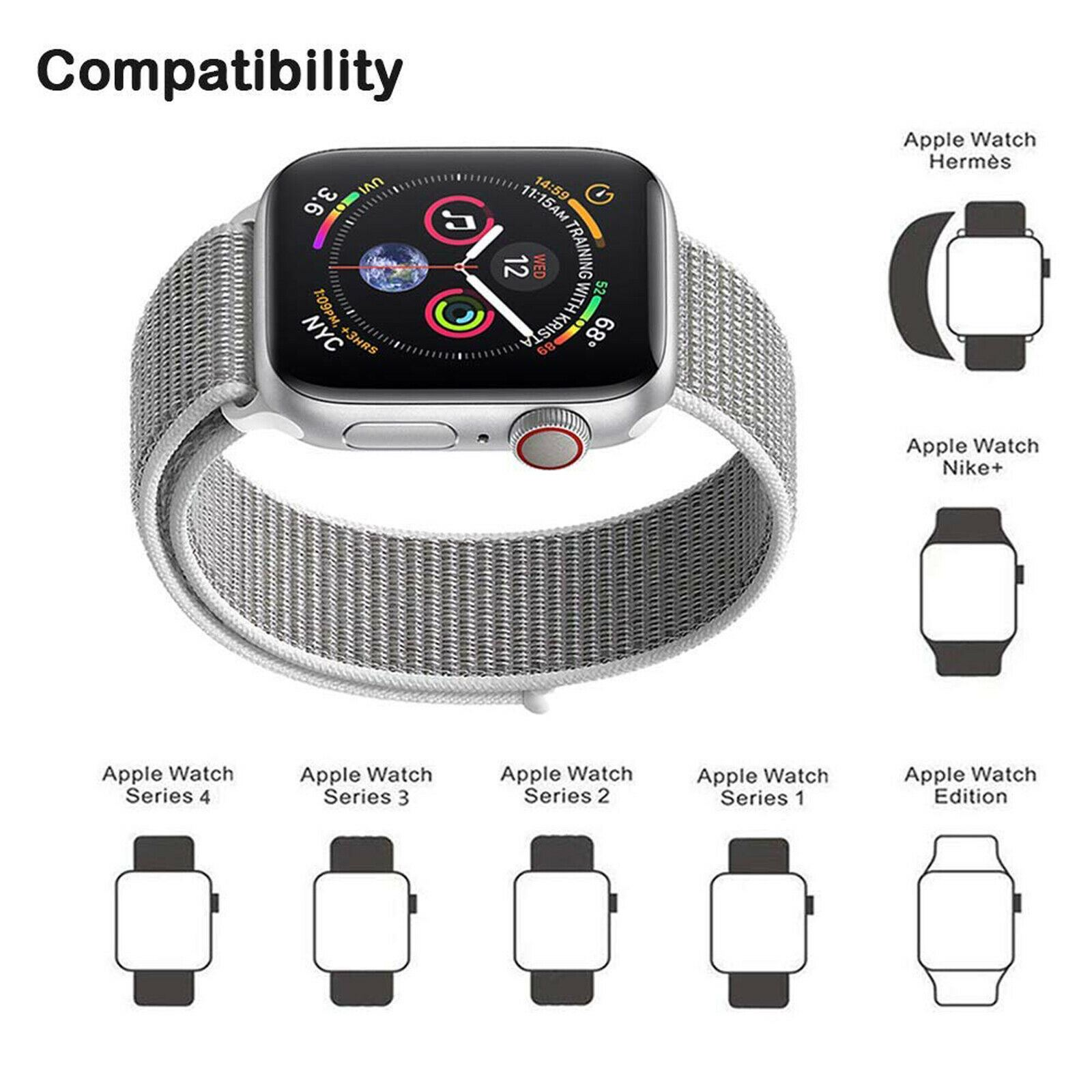 Band-Strap-For-Apple-Watch-Adjustable-Waterproof-Braided-Nylon-Material thumbnail 29