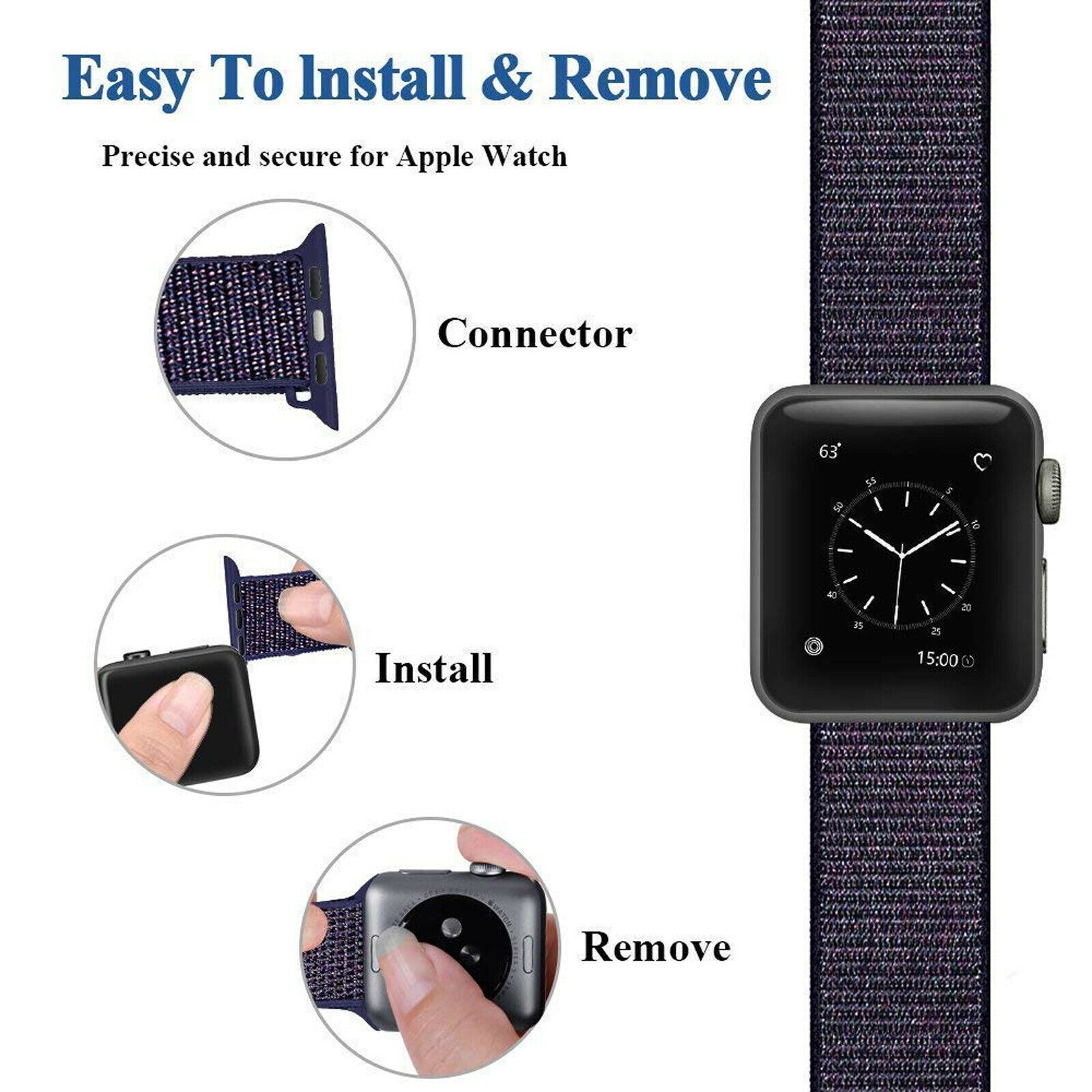 Band-Strap-For-Apple-Watch-Adjustable-Waterproof-Braided-Nylon-Material thumbnail 28