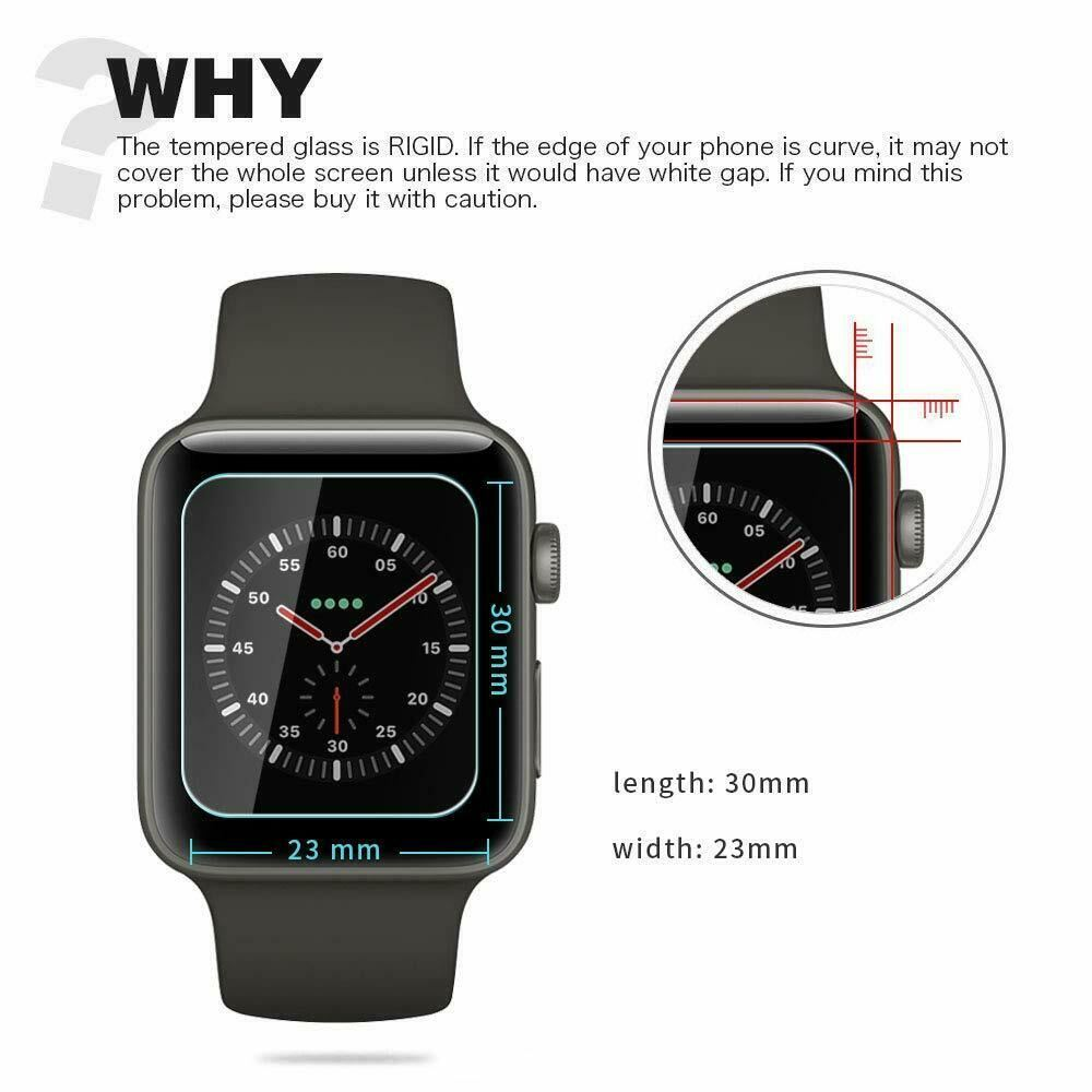 For-Apple-Watch-Series-6-SE-5-4-3-38-40-42-44mm-Tempered-Glass-Screen-Protector thumbnail 7