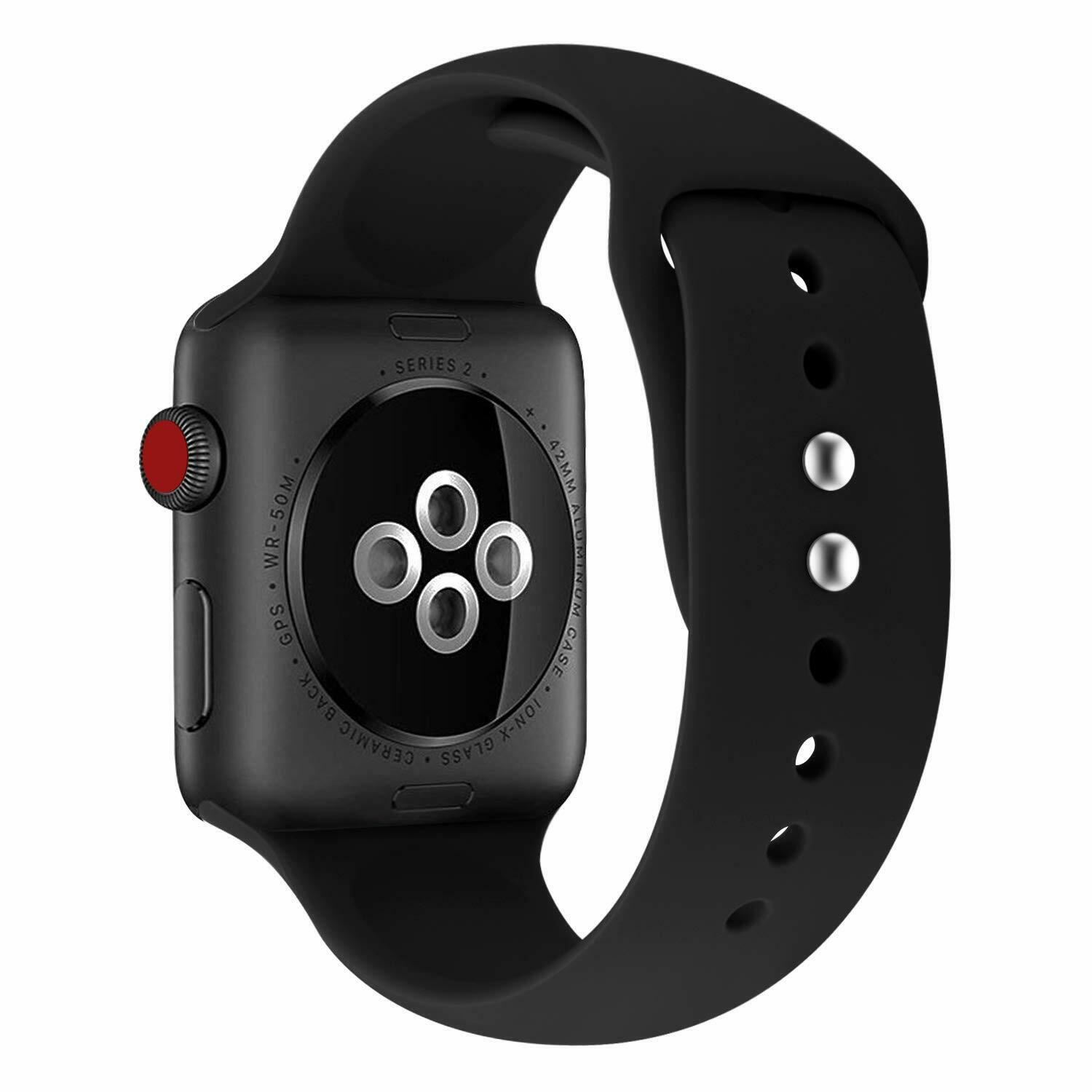 Strap-For-Apple-Watch-Silicone-Comfortable-Durable-Waterproof-Band thumbnail 3