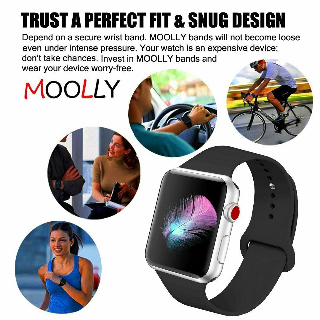 Strap-For-Apple-Watch-Silicone-Comfortable-Durable-Waterproof-Band thumbnail 15