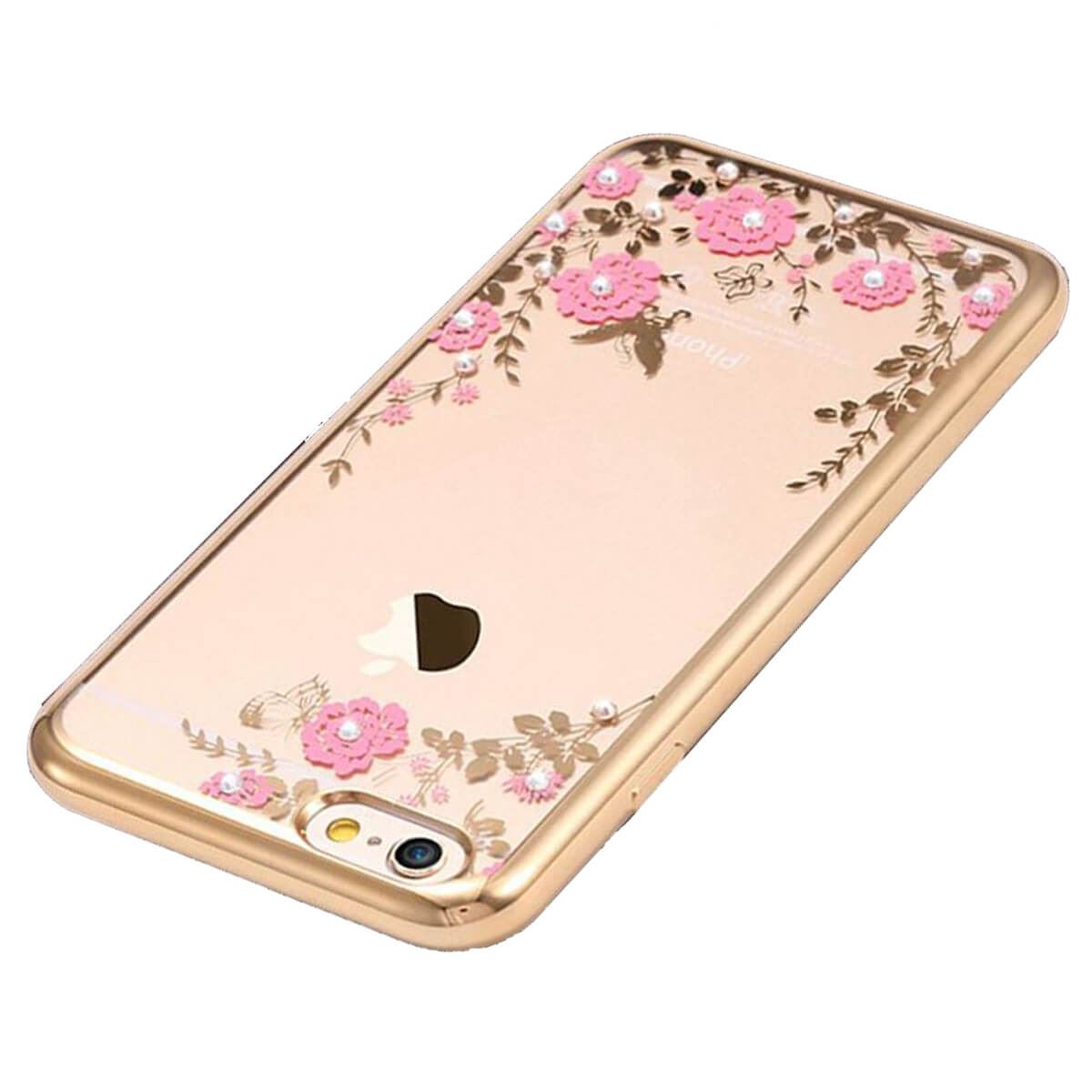 Soft-Gel-Case-For-iPhone-X-8-7-6-5s-5-Flower-Bling-Glitter-Diamond-Sparkly-Cover thumbnail 3