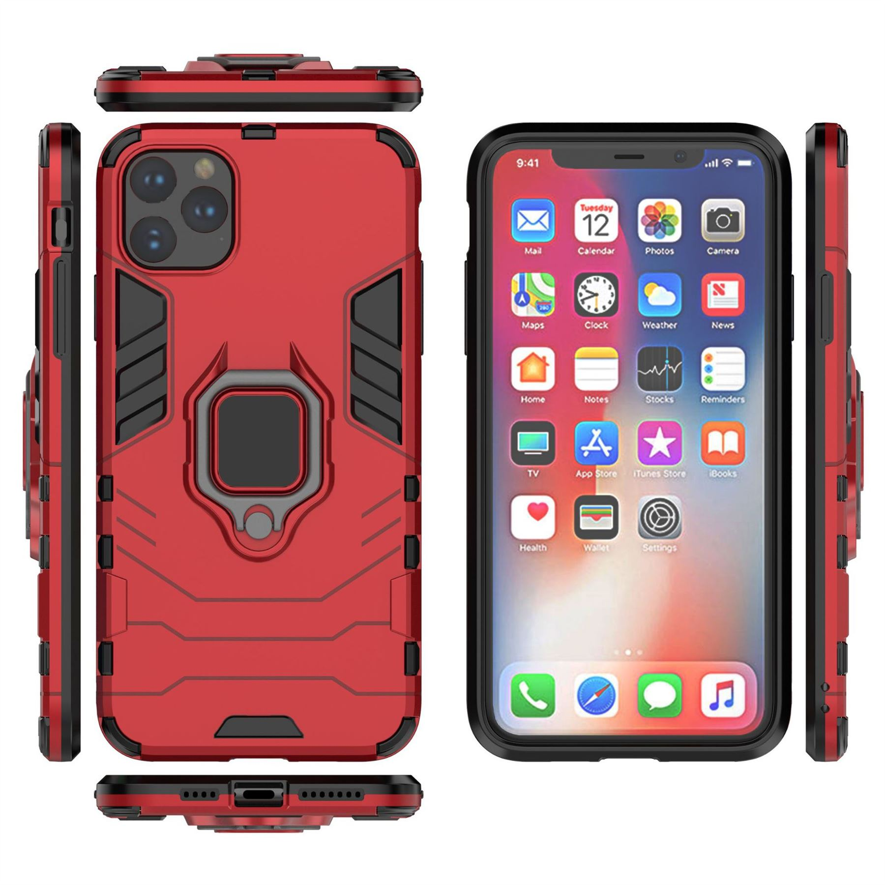 Hybrid-Pc-Case-Cover-For-Apple-iPhone-11-Pro-Max-X-6-7-8-Se-With-Ring-Holder thumbnail 26