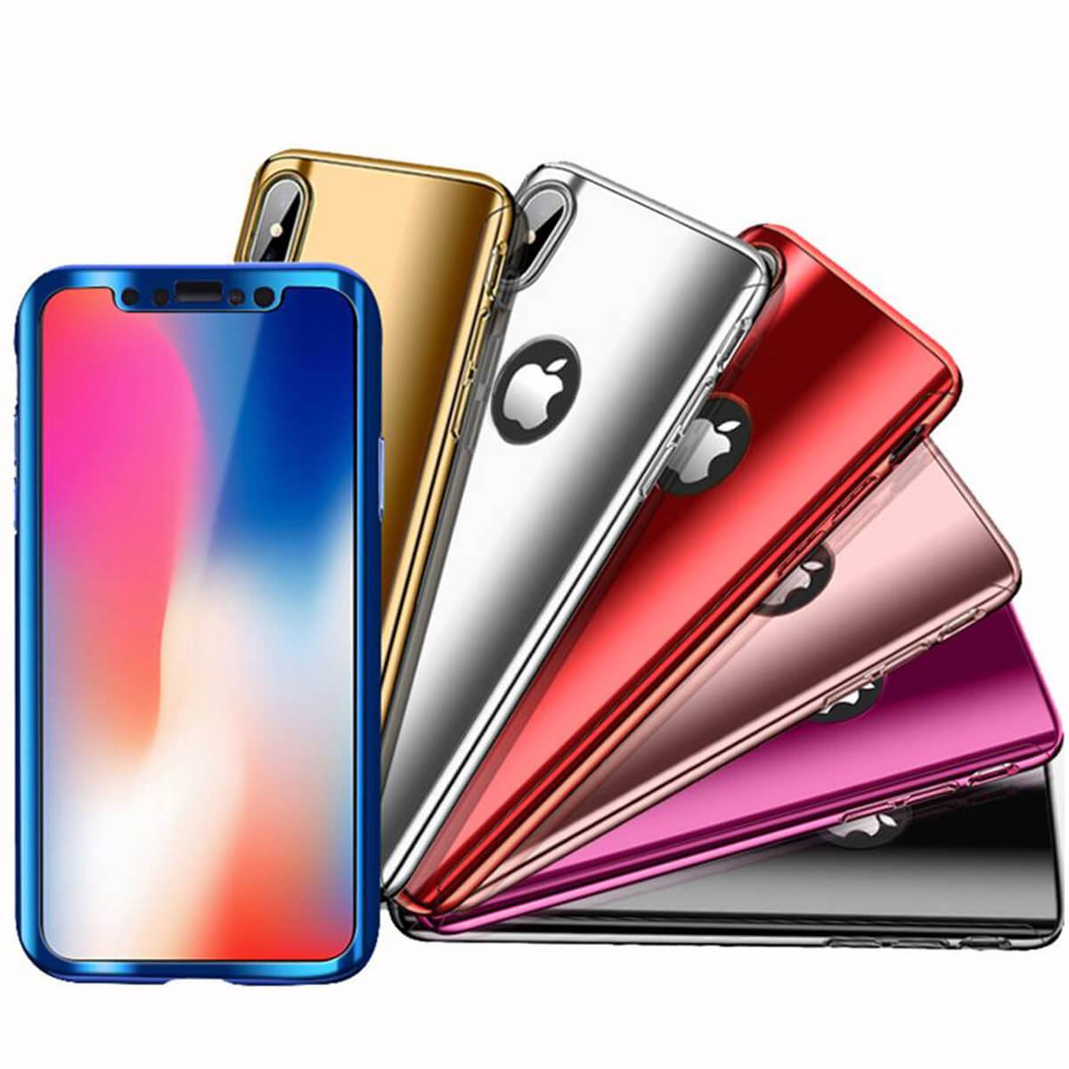 Tempered-Glass-Cover-For-iPhone-X-8-7-Plus-6s-5-Mirror-Hybrid-360-Hard-Thin-Case thumbnail 9