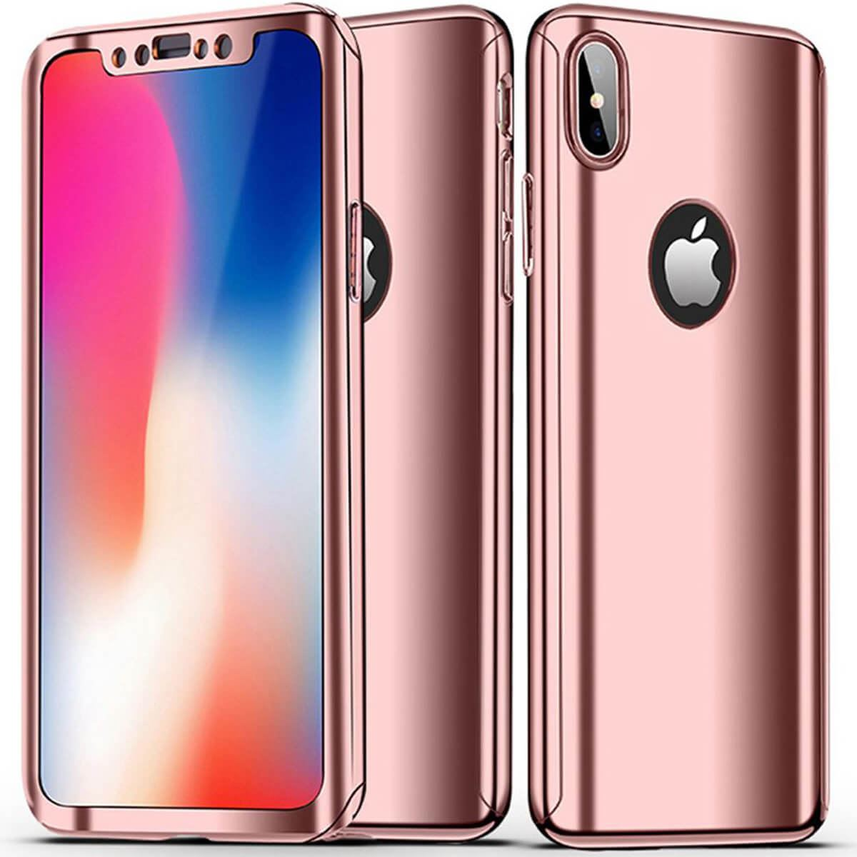 Tempered-Glass-Cover-For-iPhone-X-8-7-Plus-6s-5-Mirror-Hybrid-360-Hard-Thin-Case thumbnail 14
