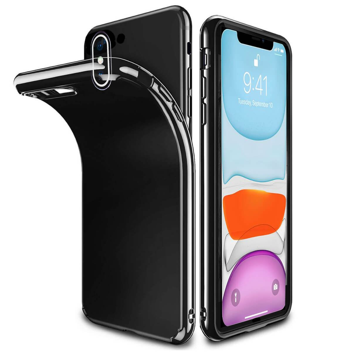 Ultra-Thin-Case-Apple-iPhone-10-X-8-7-6s-5s-Shockproof-Jelly-TPU-Jet-Black-Cover thumbnail 6