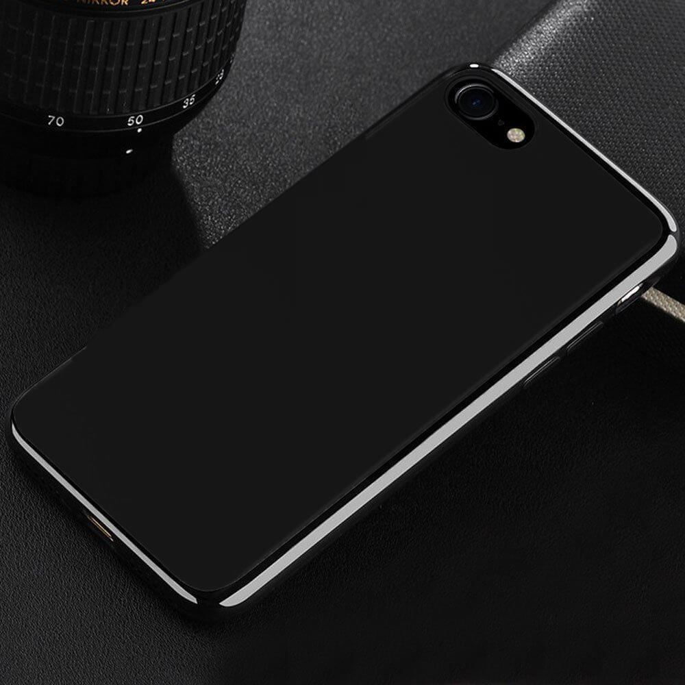 Ultra-Thin-Shockproof-Jelly-TPU-Jet-Black-Case-Cover-Apple-iPhone-10-X-8-7-6s-5s