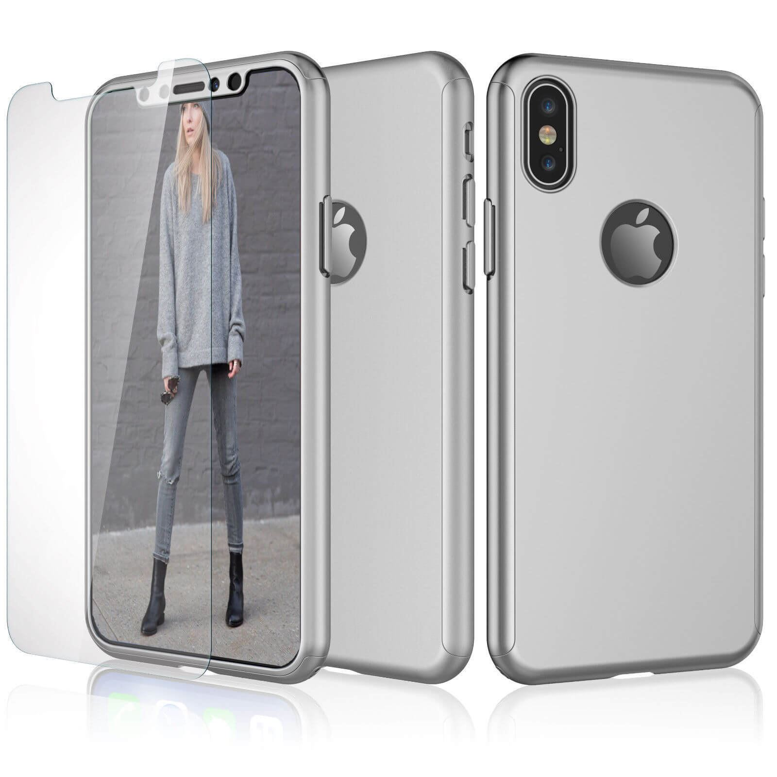 Tempered-Glass-Cover-For-Apple-iPhone-10-X-8-7-6s-5-Hybrid-360-Shockproof-Case thumbnail 47