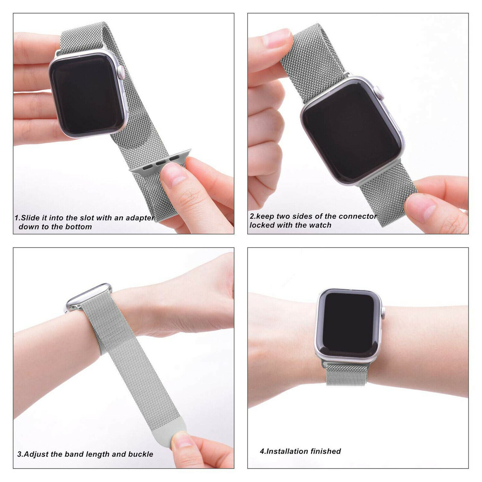 Band-For-Apple-Watch-Milannese-Loop-Stainless-Steel-Strap thumbnail 15