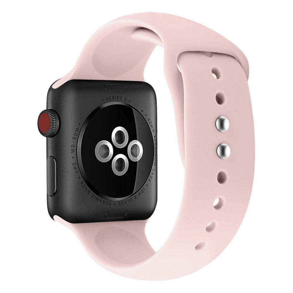 Strap-For-Apple-Watch-Silicone-Comfortable-Durable-Waterproof-Band thumbnail 25