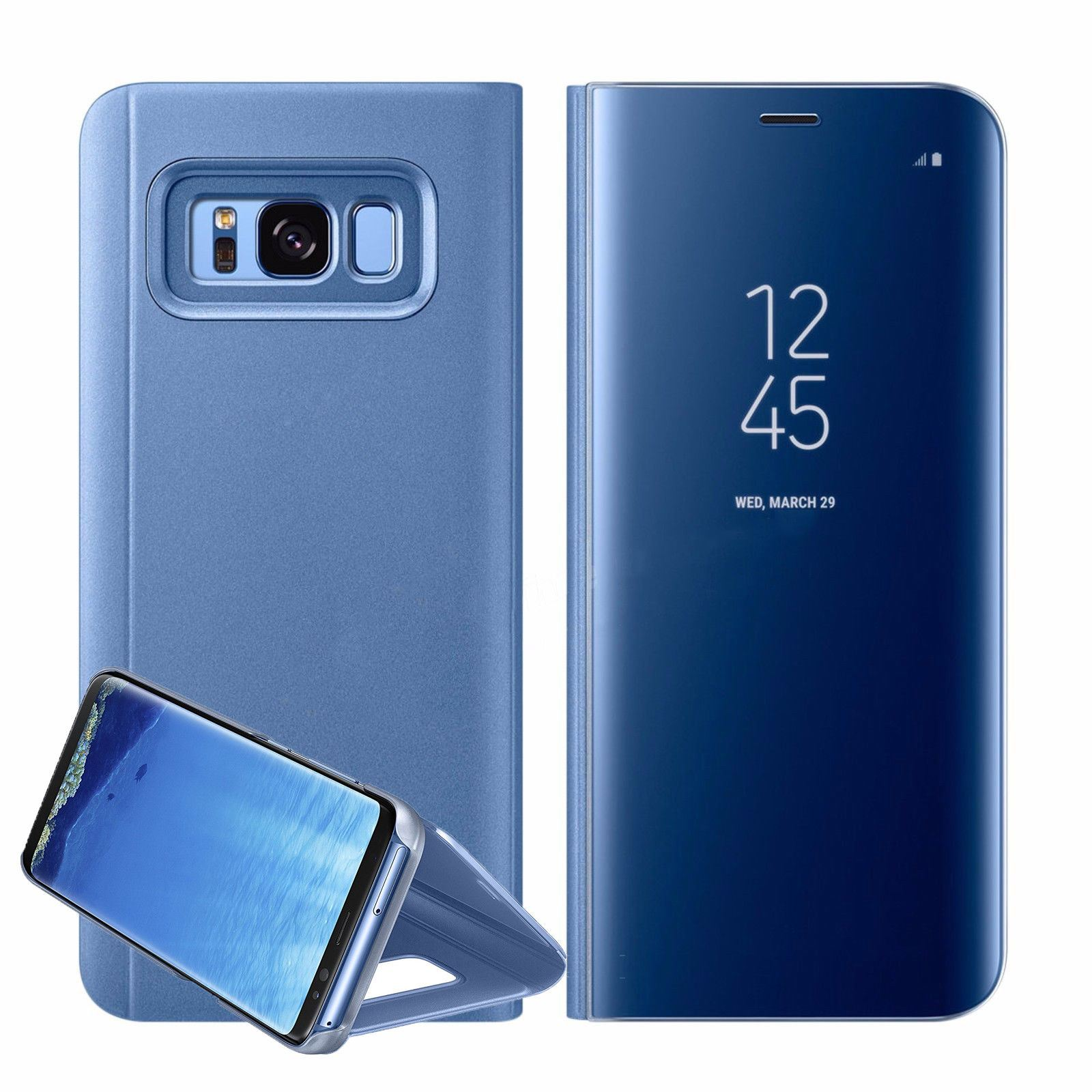 New-Samsung-Galaxy-S8-S9-S10-Smart-View-Mirror-Leather-Flip-Stand-Case-Cover miniatuur 36