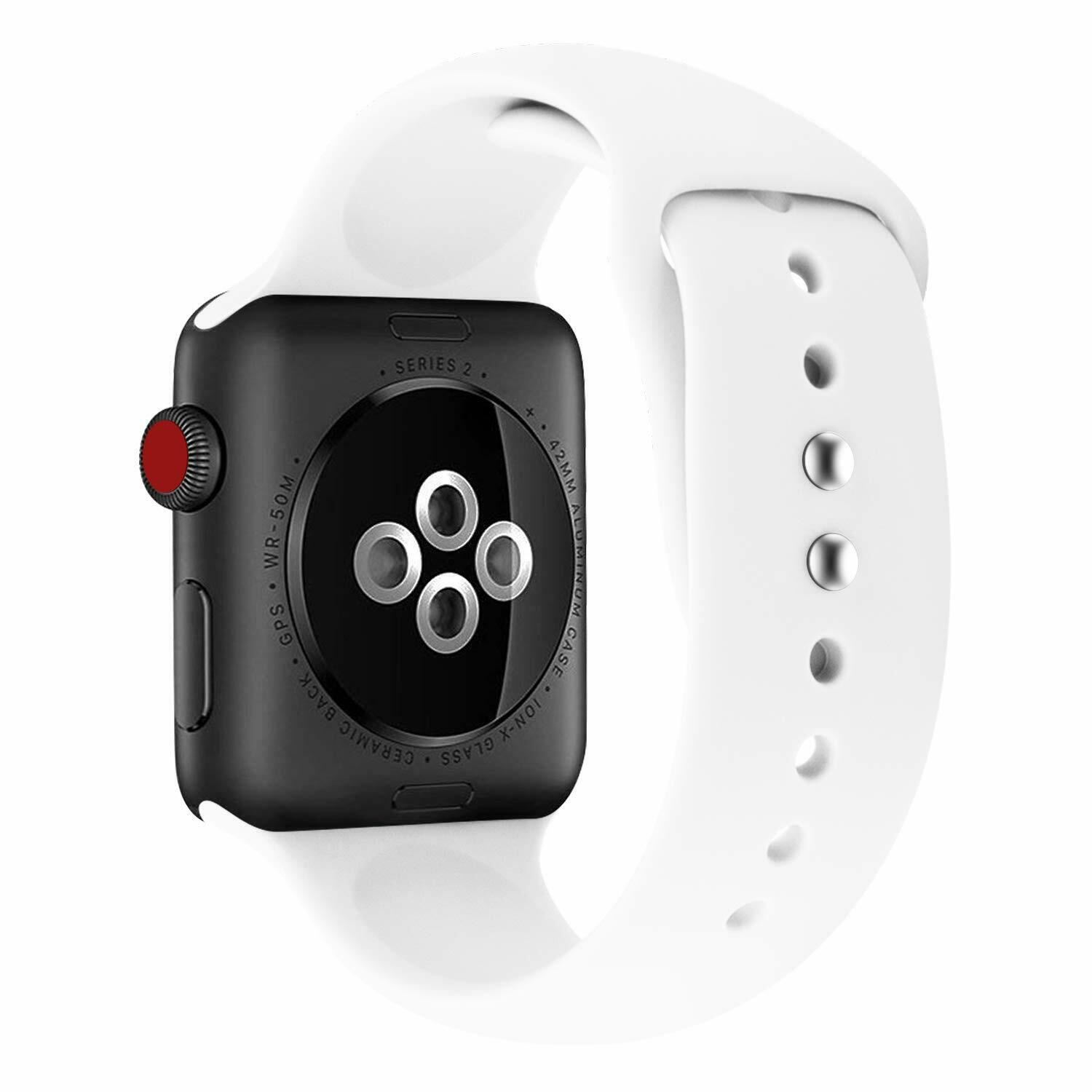 Strap-For-Apple-Watch-Silicone-Comfortable-Durable-Waterproof-Band thumbnail 39