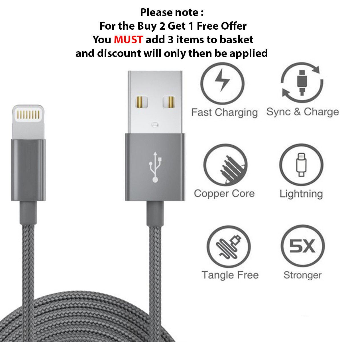 1M-2M-3M-Heavy-Duty-Braided-Lightning-Charger-Cable-For-iPhone-5-6-7-8-X-iPad thumbnail 48
