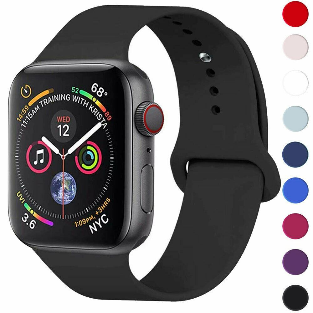 Strap-For-Apple-Watch-Silicone-Comfortable-Durable-Waterproof-Band thumbnail 4