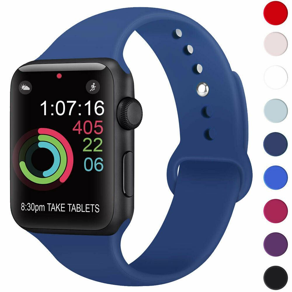 Strap-For-Apple-Watch-Silicone-Comfortable-Durable-Waterproof-Band thumbnail 17